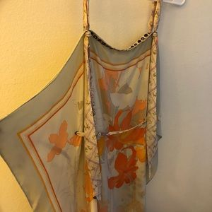E2 Dresses - Fabulous French silk floral scarf dress. Stunning.